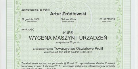 euro komplex certyfikat ukonczenia kursu wyceny maszyn i urzadzen